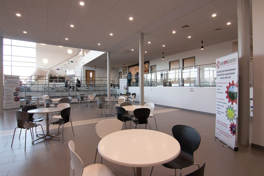 Lower Atrium - Business Incubation | Agri-EPI Midlands Agri-Tech Innovation Hub | venue space | Technology workshop space | events | Conference | Office Space | Virtual Office