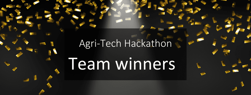 Agri-Tech Hackathon Team Winners Vet Impress (livestock challenge) and Orchabot (horticulture challenge)