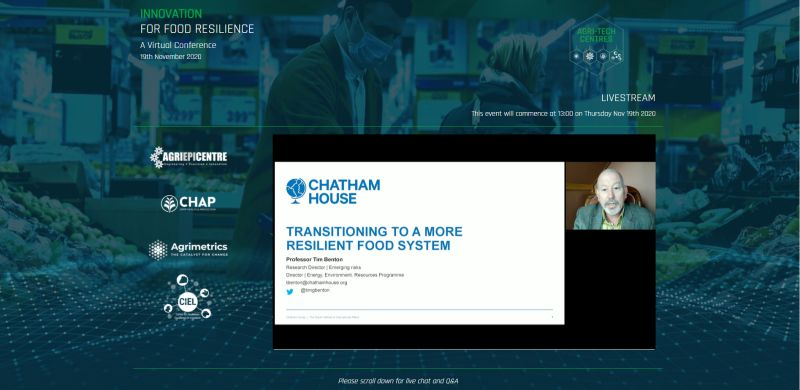 Virtual Conference 2020 | Screenshot Chatham House | UK Agri-Tech Centres of Agricultural Innovation